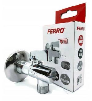 Zawór 1/2` x 3/8`  kulowy z filtrem (Ferro - Z1238KF)
