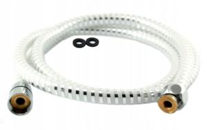 Wąż natryskowy L-150 cm z końc.stożek - biało/chrom