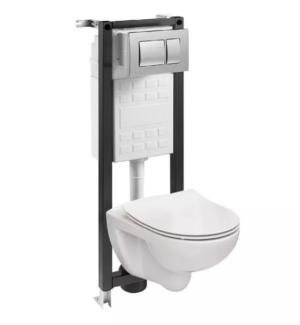 Zestaw podtynkowy WC Roca Mitos 35cm /muszla bezkołnierzowa,deska duroplast wolnoopadająca,przycisk chrom/